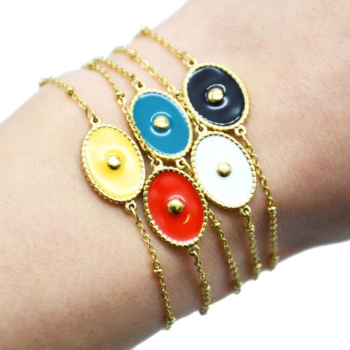 Bracelet-Chaine-Boules-Acier-Dore-avec-Ovale-Email-Couleur-Motif-Point