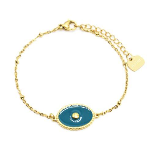 Bracelet-Chaine-Boules-Acier-Dore-avec-Ovale-Email-Bleu-Motif-Point
