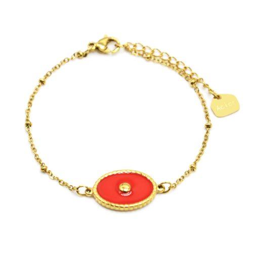 Bracelet-Chaine-Boules-Acier-Dore-avec-Ovale-Email-Orange-Motif-Point