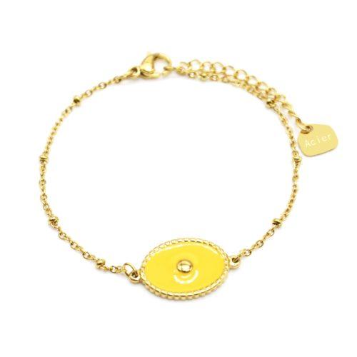 Bracelet-Chaine-Boules-Acier-Dore-avec-Ovale-Email-Moutarde-Motif-Point