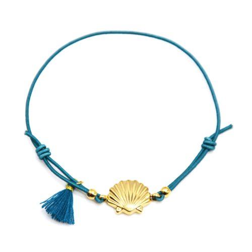 Bracelet-Elastique-Bleu-avec-Charm-Coquillage-Acier-Dore-et-Pompon