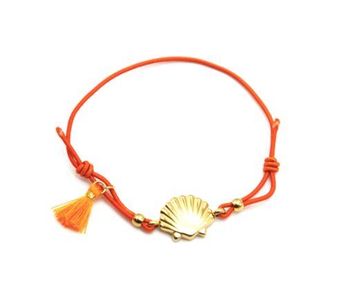 Bracelet-Elastique-Orange-avec-Charm-Coquillage-Acier-Dore-et-Pompon