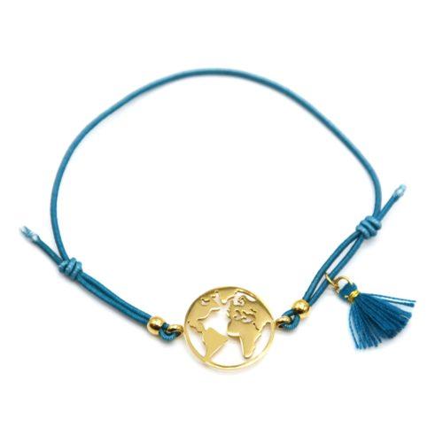 Bracelet-Elastique-Bleu-avec-Charm-Globe-Acier-Dore-et-Pompon