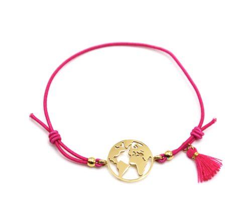 Bracelet-Elastique-Fuchsia-avec-Charm-Globe-Acier-Dore-et-Pompon