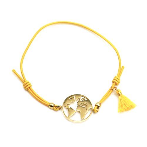 Bracelet-Elastique-Moutarde-avec-Charm-Globe-Acier-Dore-et-Pompon