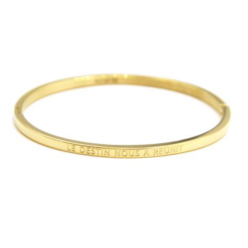 Bracelet-Jonc-Fin-Acier-Dore-avec-Message-Le-Destin-Nous-A-Reunit