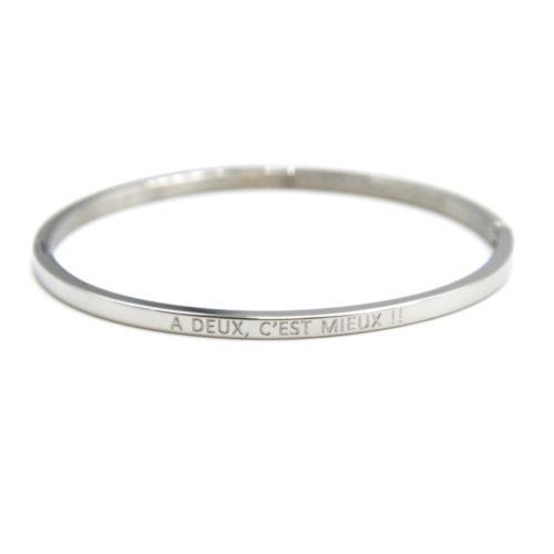 Bracelet-Jonc-Fin-Acier-Argente-avec-Message-A-Deux-C-est-Mieux