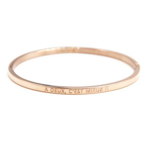 Bracelet-Jonc-Fin-Acier-Or-Rose-avec-Message-A-Deux-C-est-Mieux