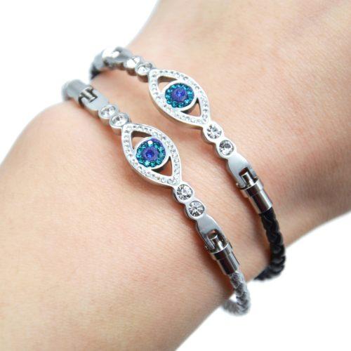Bracelet-Aimante-Cordon-Tresse-avec-Charm-Oeil-Strass-et-Acier-Argente