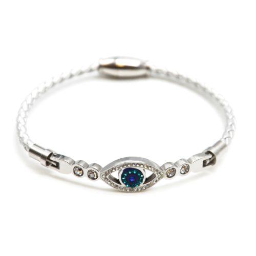 Bracelet-Aimante-Cordon-Tresse-Gris-avec-Charm-Oeil-Strass-et-Acier-Argente