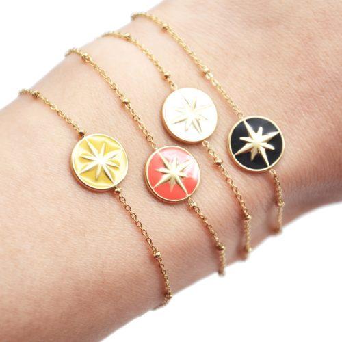 Bracelet-Chaine-Boules-Acier-Dore-avec-Cercle-Motif-Etoile-Polaire