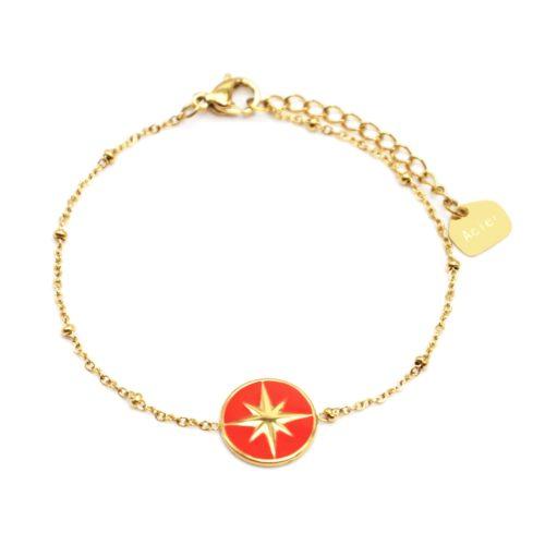 Bracelet-Chaine-Boules-Acier-Dore-avec-Cercle-Orange-Motif-Etoile-Polaire