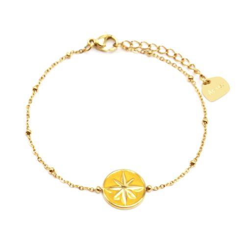 Bracelet-Chaine-Boules-Acier-Dore-avec-Cercle-Moutarde-Motif-Etoile-Polaire