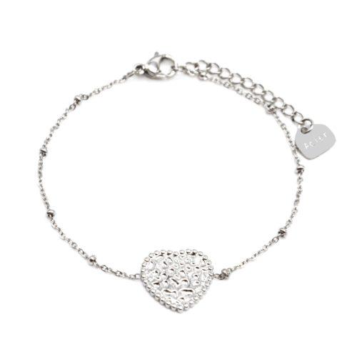 Bracelet-Chaine-Boules-avec-Charm-Coeur-Martele-Acier-Argente