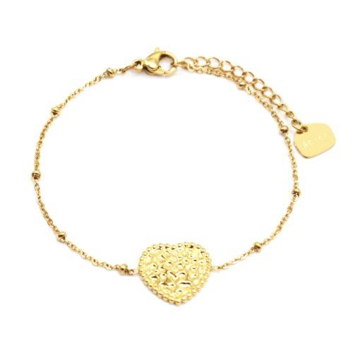 Bracelet-Chaine-Boules-avec-Charm-Coeur-Martele-Acier-Dore
