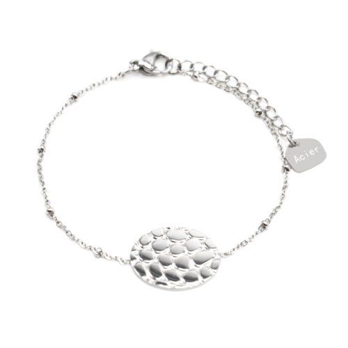 Bracelet-Chaine-Boules-avec-Charm-Ovale-Motif-Ecailles-Croco-Acier-Argente