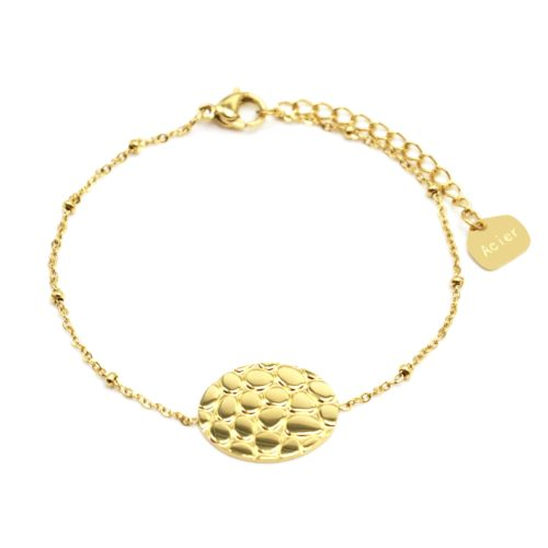 Bracelet-Chaine-Boules-avec-Charm-Ovale-Motif-Ecailles-Croco-Acier-Dore