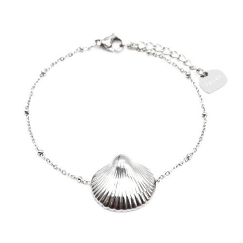 Bracelet-Chaine-Boules-avec-Charm-Coquillage-Acier-Argente