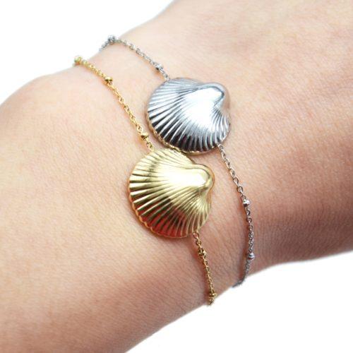 Bracelet-Chaine-Boules-avec-Charm-Coquillage-Acier