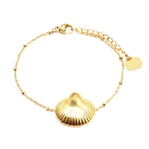 Bracelet-Chaine-Boules-avec-Charm-Coquillage-Acier-Dore