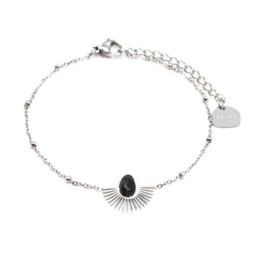 Bracelet-Chaine-Boules-avec-Demi-Soleil-Acier-Argente-et-Pierre-Marbre-Noir