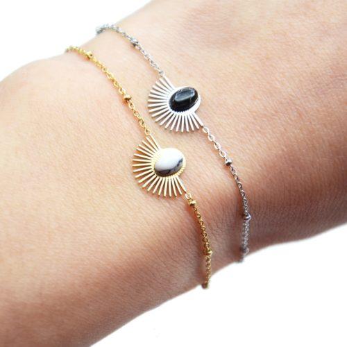 Bracelet-Chaine-Boules-avec-Demi-Soleil-Acier-et-Pierre-Marbre
