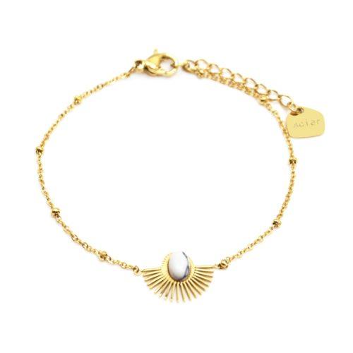 Bracelet-Chaine-Boules-avec-Demi-Soleil-Acier-Dore-et-Pierre-Marbre-Blanc