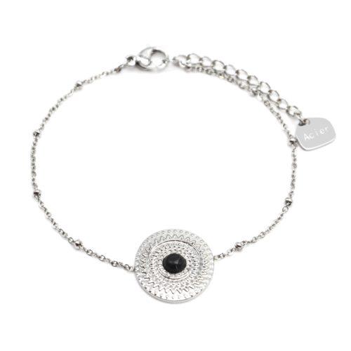 Bracelet-Chaine-Boules-avec-Cercle-Grave-Ethnique-Acier-Argente-et-Pierre-Marbre-Noir