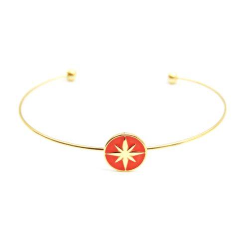 Bracelet-Jonc-Fin-Acier-Dore-avec-Cercle-Orange-Motif-Etoile-Polaire