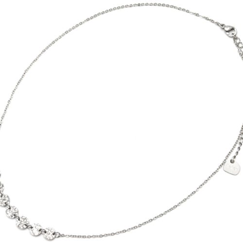 Collier-Fine-Chaine-Pendentif-Medailles-Martelees-Acier-Argente