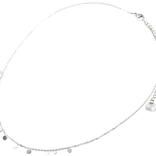 Collier-Ras-du-Cou-avec-Mini-Pampilles-Assorties-Acier-Argente