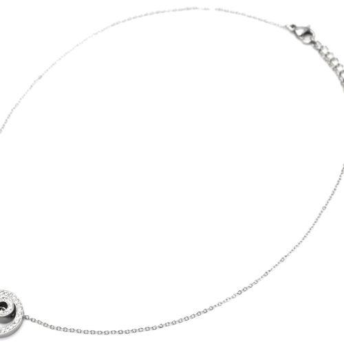 Collier-Fine-Chaine-Acier-Argente-avec-Pendentif-Double-Cercles-Strass