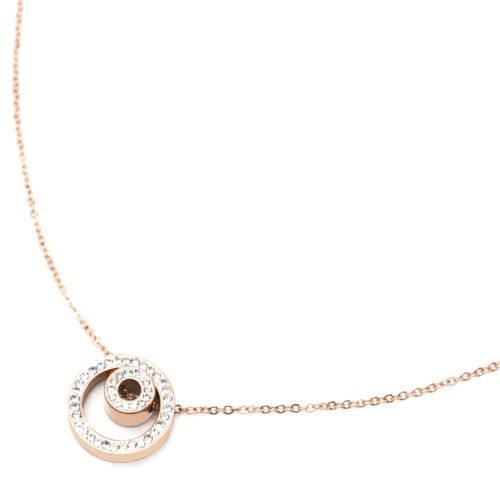Collier-Fine-Chaine-Acier-Or-Rose-avec-Pendentif-Double-Cercles-Strass