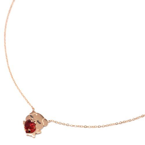 Collier-Fine-Chaine-Acier-Or-Rose-avec-Pendentif-Cochon-et-Coeur-Pierre-Rouge