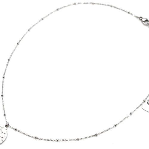 Collier-Chaine-Boules-Pendentif-Ovale-Motif-Ecailles-Croco-Acier-Argente