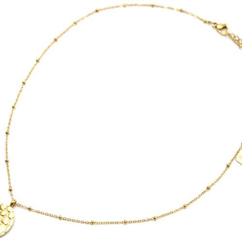Collier-Chaine-Boules-Pendentif-Ovale-Motif-Ecailles-Croco-Acier-Dore