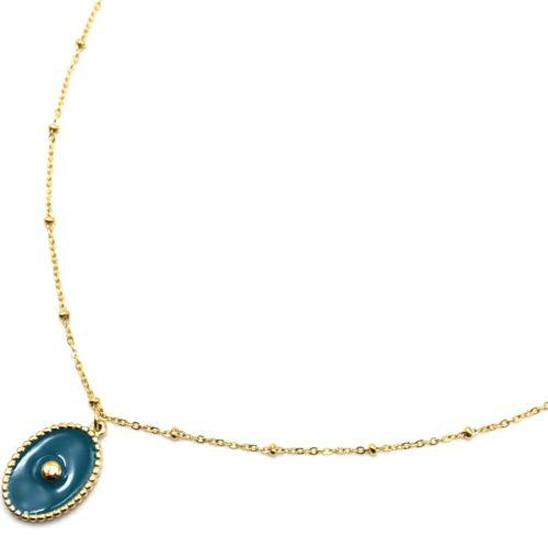 Collier-Chaine-Boules-Acier-Dore-Pendentif-Ovale-Email-Bleu-Motif-Point