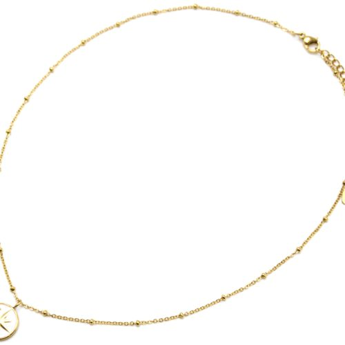 Collier-Chaine-Boules-Acier-Dore-Pendentif-Cercle-Blanc-Motif-Etoile-Polaire