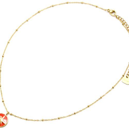 Collier-Chaine-Boules-Acier-Dore-Pendentif-Cercle-Orange-Motif-Etoile-Polaire