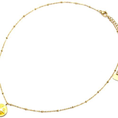 Collier-Chaine-Boules-Acier-Dore-Pendentif-Cercle-Moutarde-Motif-Etoile-Polaire