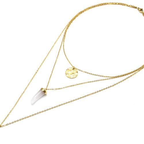 Collier-Triple-Chaine-avec-Medaille-Martelee-Corne-Resine-et-Etoile-Polaire-Acier-Dore