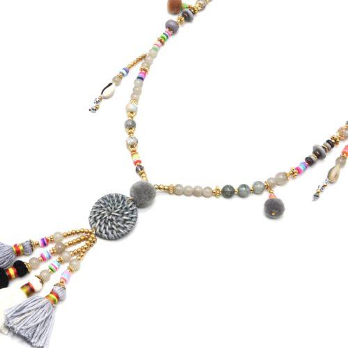 Sautoir-Collier-Perles-Verre-et-Effet-Marbre-avec-Cercle-Osier-et-Pompons-Gris