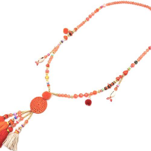 Sautoir-Collier-Perles-Verre-et-Effet-Marbre-avec-Cercle-Osier-et-Pompons-Orange