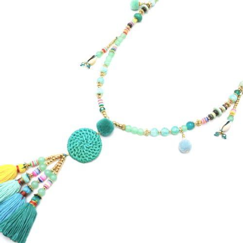 Sautoir-Collier-Perles-Verre-et-Effet-Marbre-avec-Cercle-Osier-et-Pompons-Vert-Mint