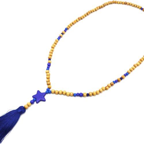 Sautoir-Collier-Perles-Bois-et-Effet-Marbre-avec-Pierre-Etoile-et-Pompon-Bleu-Marine