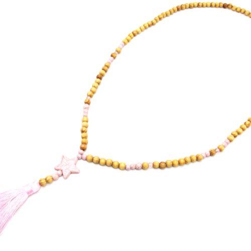 Sautoir-Collier-Perles-Bois-et-Effet-Marbre-avec-Pierre-Etoile-et-Pompon-Rose-Pale