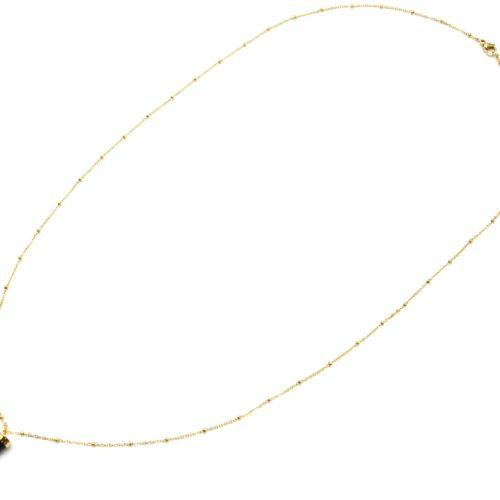 Sautoir-Collier-Chaine-Boules-Acier-Dore-avec-Corne-Resine-Noire