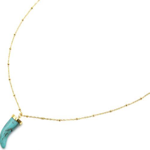 Sautoir-Collier-Chaine-Boules-Acier-Dore-avec-Corne-Resine-Effet Marbre-Turquoise