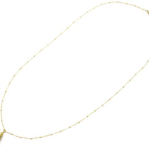 Sautoir-Collier-Chaine-Boules-Acier-Dore-avec-Coquillage-Naturel-Peint-Dore