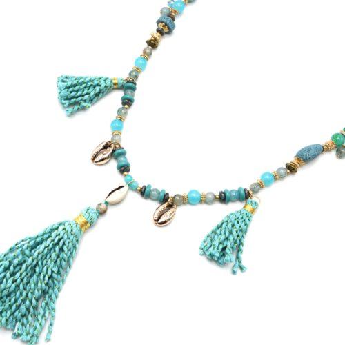 Sautoir-Collier-Perles-Verre-avec-Cauris-et-Pompons-Torsades-Bleu-Turquoise